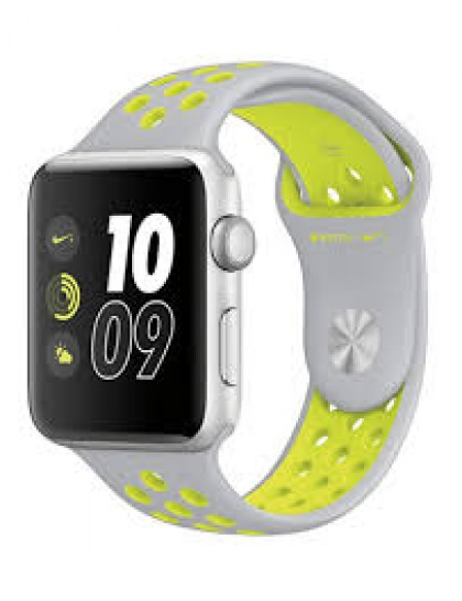 Apple Watch Nike+ 42mm Silver Aluminum Nike Sport Band Flat Silver/Volt (140-210mm)(MNYQ2)