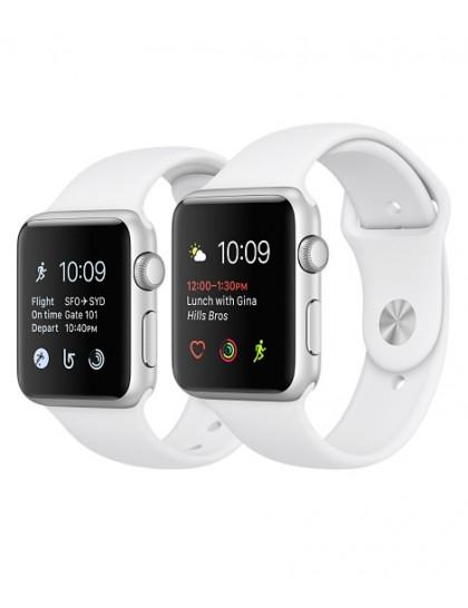 Apple Watch Series 1 42mm Silver Aluminum Sport Band White (140-210mm)(MNNL2)